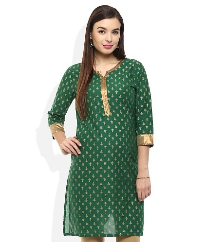 Golden Lace Embossed Printed Green Kurti