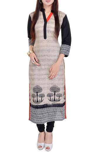 Grey Cotton Printed Long Kurta