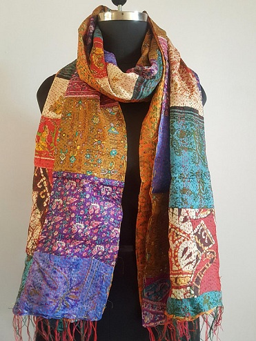 Kantha Work Silk Scarf