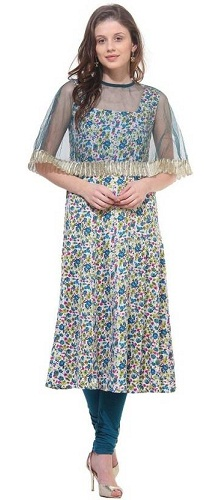 La Firangi Printed Women's Straight Kurta (Multi Colour)