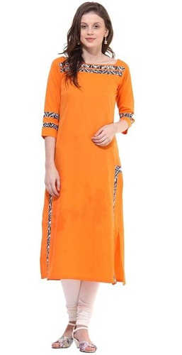 La Firangi Solid Women's Straight Kurta (Orange)