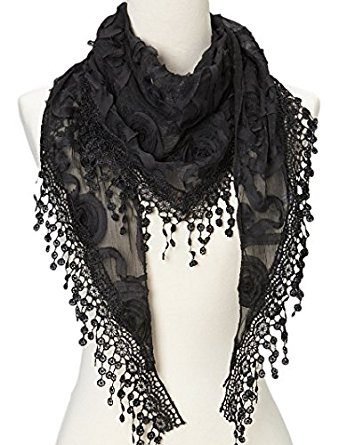 Lace Knit Black Scarf