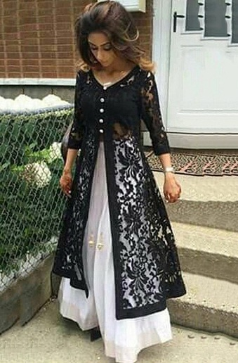 Lace Open Kurti with Buttons