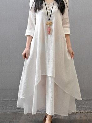 Linen Cotton Plain Semi-Stitched Maxi Kurti
