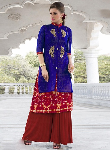 Majestic Blue and Red Chanderi Embroidered Kurti