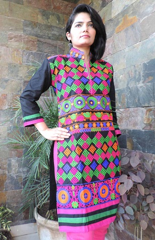 Multicolored Embroidered Short Kurti