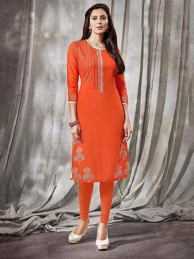 Orange Embroidered Kurti