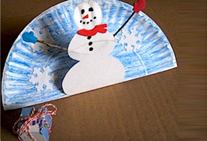 Paper Plate Pop up Snowman Crafts