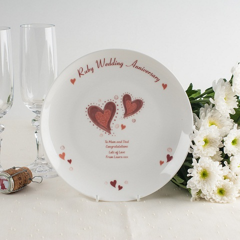 Personalized Ruby Heart Plate