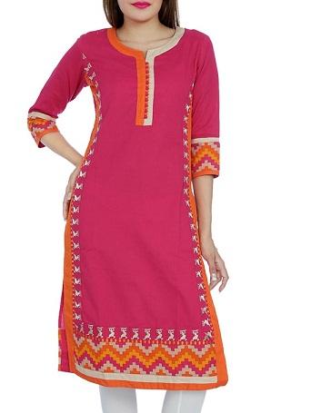 Pink Khadi Straight Kurti