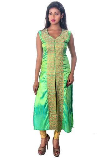 Pista Green Zari Embroidered Kurti
