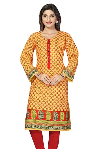 Plus Size Kurtis Long Pakistani Yellow Printed Kurtis