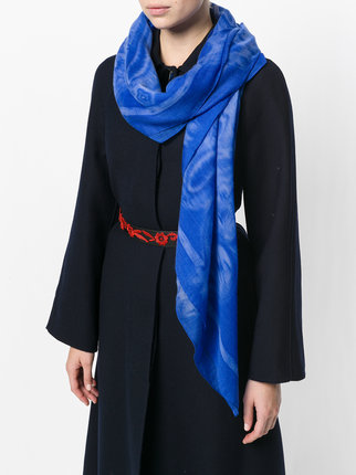 Printed Royal Blue Cashmere Scarf for Women