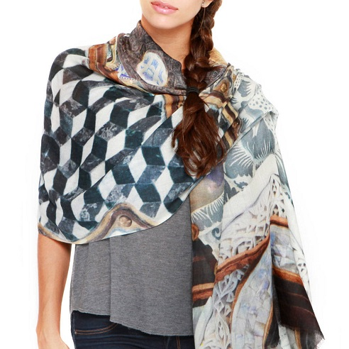 Printed Silk Cashmere Scarf for Women