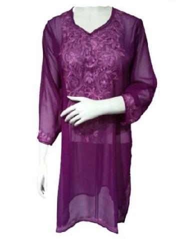 Purple Embroidery Kurti