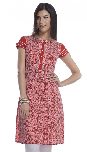 Red Cotton Heavy Embroidered Kurti