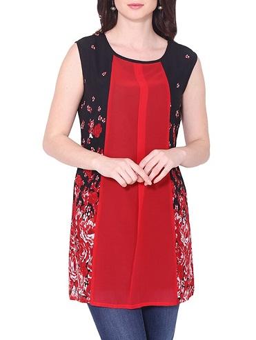 Red Georgette Printed Straight Kurti
