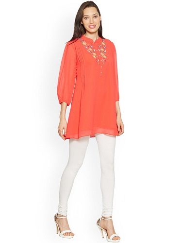 Red Solid Kurti with Embroidered Detail