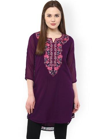 Ruhanee Purple Printed & Embroidered Kurti