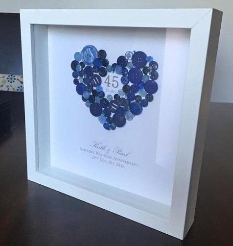 Sapphire Button Heart