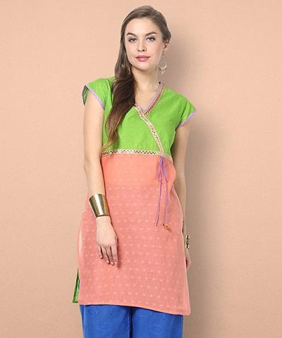 Shyra Angrakha Kurti - Green & Peach