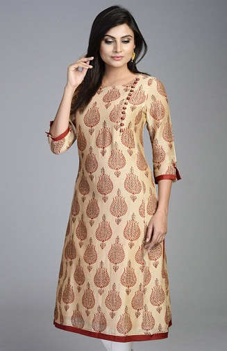Stand Collar Kurti Designs : Latest designer long kurtis collection for women