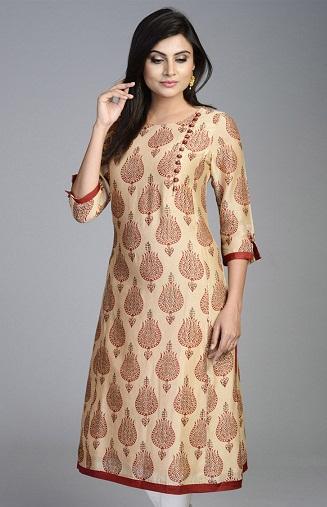 Stand Collar Dress Designs : Latest designer long kurtis collection for women