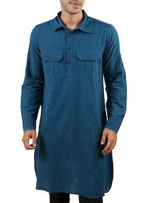 Solid Teal Blue Cotton Kurta