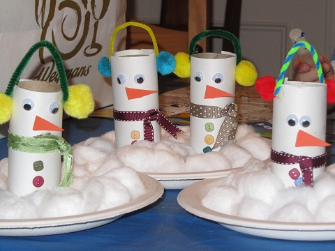 Toilet Paper Tube Snowman Crafts