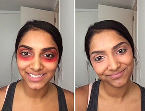 Use Red Lipstick to Cover Dark Circles