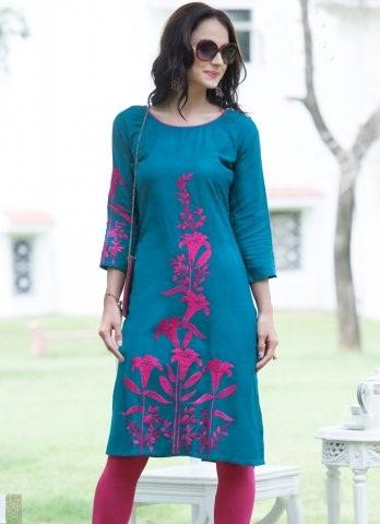 Vesh Teal Embroidered Flex Linen Kurti
