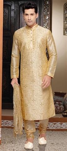 Wedding Series Golden Kurta for Men