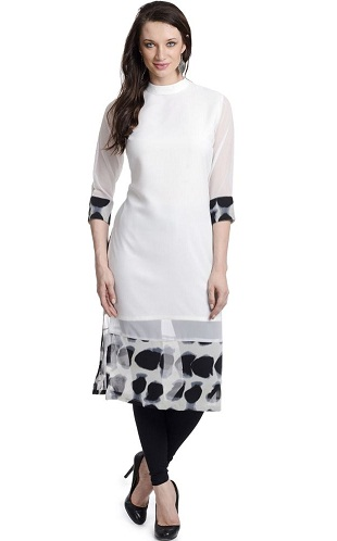 White Rolled Collar Kurti