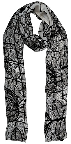 Women's Black and White Scarf