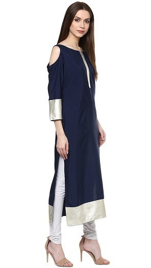 ZIYAA Women's Blue Color Solid Straight Crepe Kurta