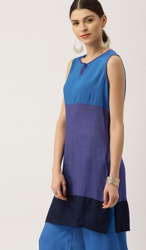 All About you from Deepika Padukone Blue & Purple Colour blocked Kurti