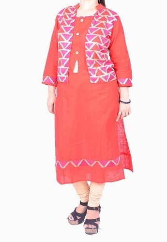 Cloth Fashion Solid Women's Pakistani Kurta (Red)