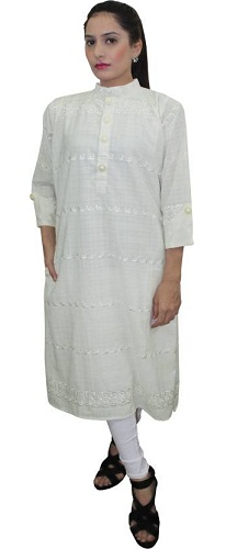 Crown Nine Embroidered Women's Pakistani Kurta (White)