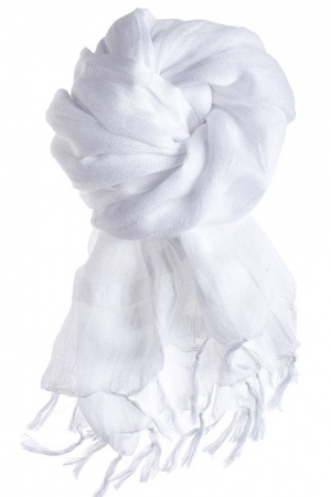 White Cotton Scarf For Summer