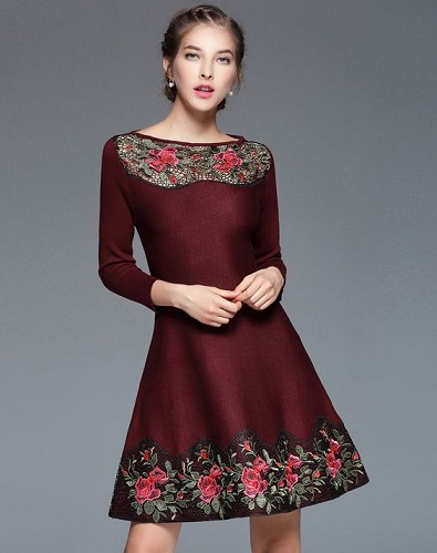 45c1bb444f8 Winter is a great time of the year to flaunt some exquisite embroidery and  this A Line dress is just the right way to go about it. Make note that this  dress ...