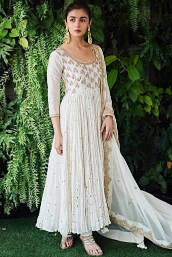 Alia Bhatt In Chanderi Silk White Kurti