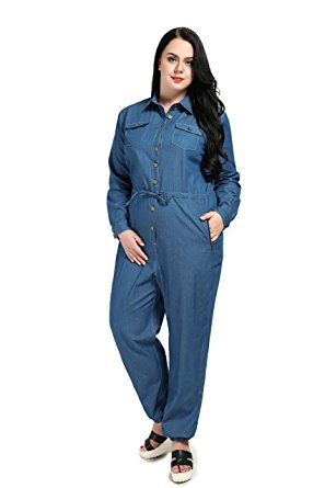 Appealing Plus Size Long Sleeve Denim Romper