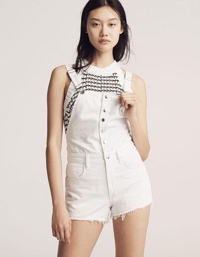 Attractive White Overall Shorts