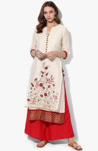 Biba Embroidered Straight Kurta