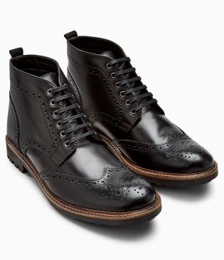 Black Brogue Cleat Boot