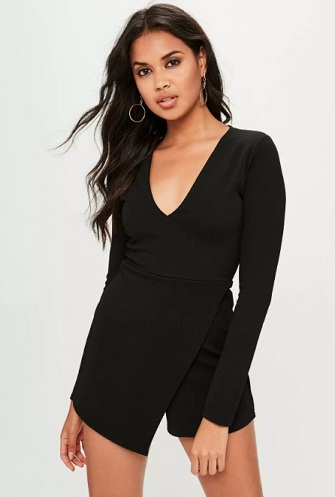 Black Crepe Wrap Skirt Romper