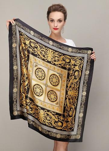 Black Gold Silk Square Scarf