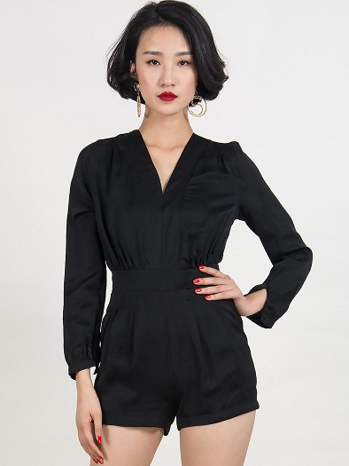 Black Long-Sleeved Romper