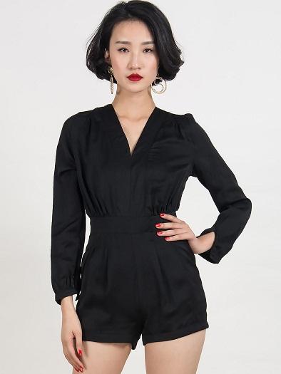Black Long-Sleeved Romper