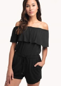 Black off Shoulder Romper
